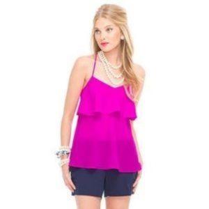 Lilly Pulitzer Pink Ruffle Silk Blouse Cross Back
